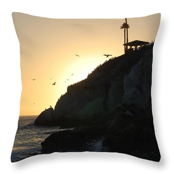 Throw Pillow featuring the photograph Pelicans Gliding At Sunset by Debra Thompson