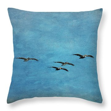 Pelicans In Flight Throw Pillow