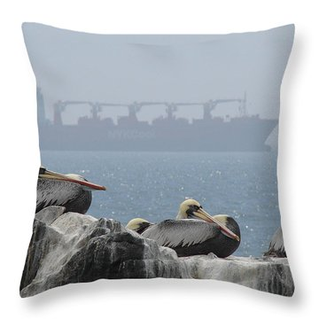 Throw Pillow featuring the photograph Pelicans In The Mist by Ramona Johnston