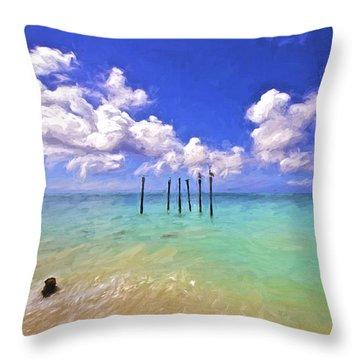 Pelicans Of Aruba Throw Pillow