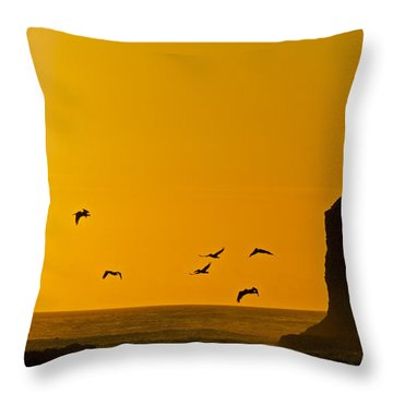Pelicans On The Wing II Throw Pillow