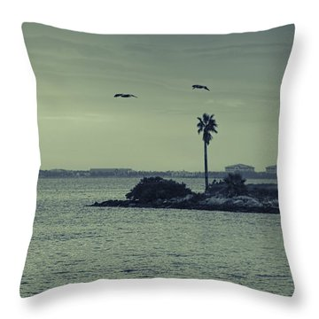 Pelicants And Palm Throw Pillow by Marvin Spates