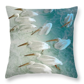 Pellican Frenzy Throw Pillow by Stuart Turnbull
