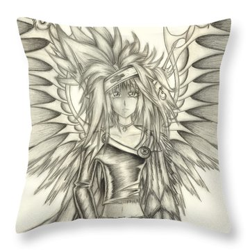 Throw Pillow featuring the drawing Pelusis God Of Law And Order by Shawn Dall