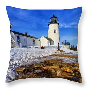 Throw Pillow featuring the photograph Pemaquid Light In Winter by Tom Singleton