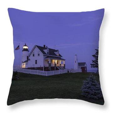 Pemaquid Point Light - Blue Hour Throw Pillow