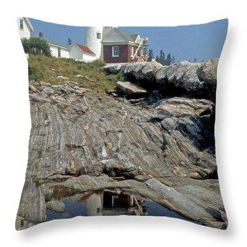 Throw Pillow featuring the photograph Pemaquid Point Light by ELDavis Photography