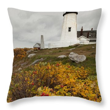 Pemaquid Point Lighthouse And Sea Roses Throw Pillow