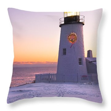 Pemaquid Point Lighthouse Christmas Snow Wreath Maine Throw Pillow