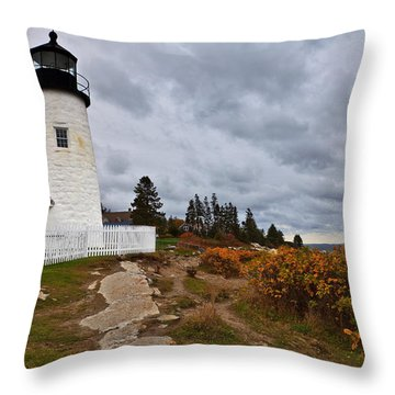 Stormy Autumn Day At Pemaquid Point Lighthouse Throw Pillow