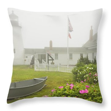 Pemaquid Point Lighthouse In Fog Maine Prints Throw Pillow