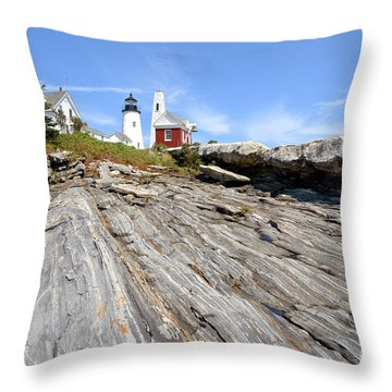 Pemaquid Point Lighthouse In Maine Throw Pillow by Olivier Le Queinec