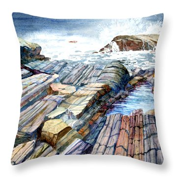 Throw Pillow featuring the painting Pemaquid Rocks by Roger Rockefeller