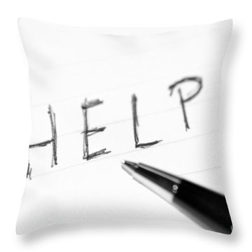 Throw Pillow featuring the photograph Pen Help Black White by Henrik Lehnerer