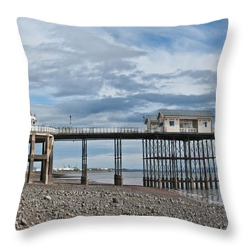 Penarth Pier Panorama 1 Throw Pillow by Steve Purnell