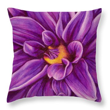 Throw Pillow featuring the drawing Pencil Dahlia by Janice Dunbar
