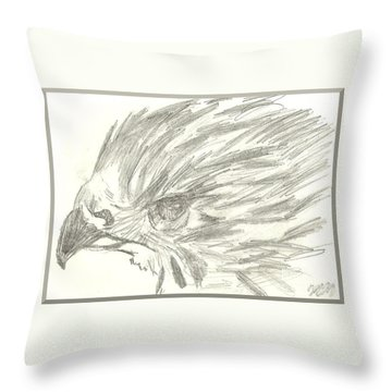 Pencil Drawing Of Hawk Eye Throw Pillow