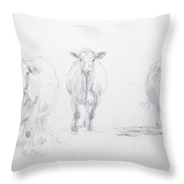 Pencil Drawing Of Three Cows Throw Pillow