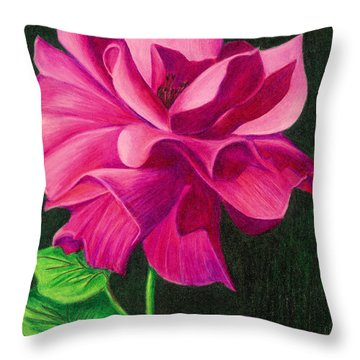 Throw Pillow featuring the drawing Pencil Rose by Janice Dunbar