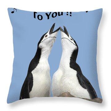 Penguin Birthday Card Throw Pillow