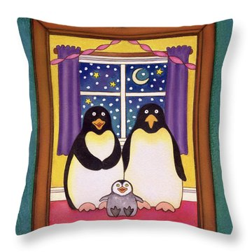 Penguin Family Christmas Throw Pillow by Cathy Baxter