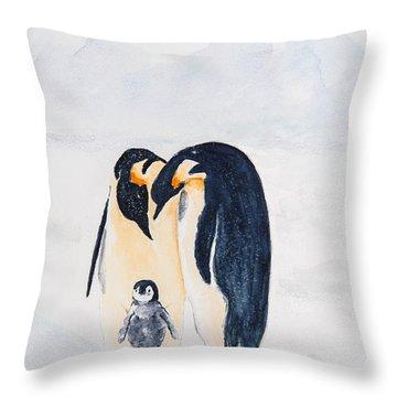 Penguin Family Throw Pillow by Elvira Ingram