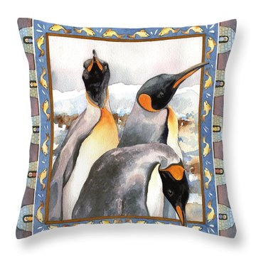 Penguin Family Portrait Throw Pillow