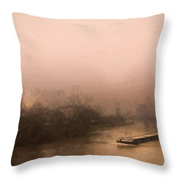 Peniche Sur La Riviere Main - Francfort  Throw Pillow