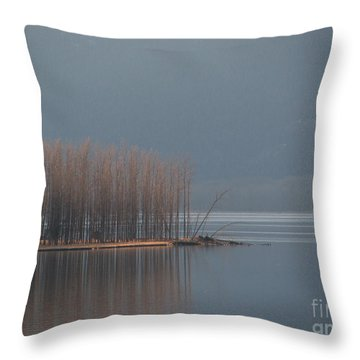 Peninsula Of Trees Throw Pillow by Leone Lund