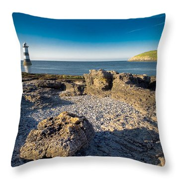 Penmon Lighthouse And Puffin Island Throw Pillow