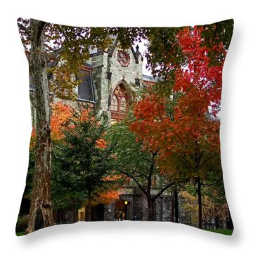 Throw Pillow featuring the photograph Penn In The Rain by Rona Black
