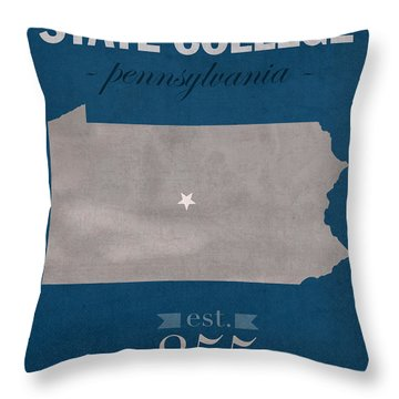Penn State University Nittany Lions State College Pa College Town State Map Poster Series No 088 Throw Pillow by Design Turnpike
