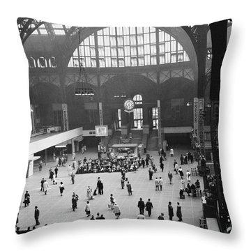 Penn Station Nyc 1957 Throw Pillow by Van D Bucher