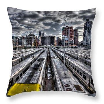 Penn Station Train Yard Throw Pillow