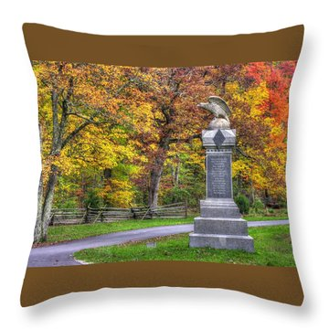 Pennsylvania At Gettysburg - 115th Pa Volunteer Infantry De Trobriand Avenue Autumn Throw Pillow by Michael Mazaika