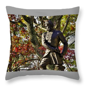Pennsylvania At Gettysburg - Col Strong Vincent 83rd Pa Volunteer Infantry Close-2b Little Round Top Throw Pillow by Michael Mazaika