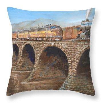 Pennsylvania Railroad On The Rockville Bridge Throw Pillow by Christopher Jenkins