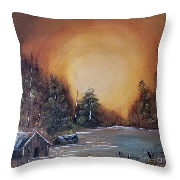 Pennsylvania Shenango Dawn In Oil Throw Pillow by Janice Rae Pariza