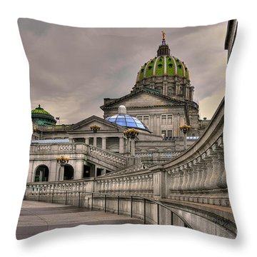 Throw Pillow featuring the photograph Pennsylvania State Capital by Lois Bryan
