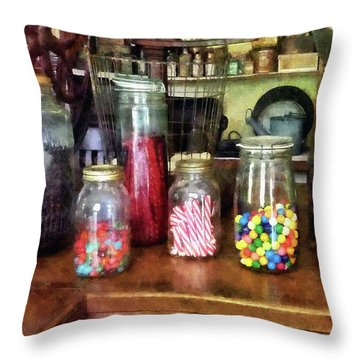 Penny Candies Throw Pillow by Susan Savad
