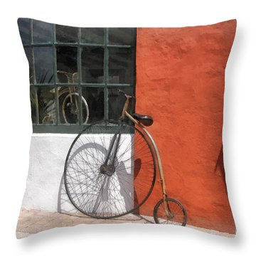 Penny-farthing In Front Of Bike Shop Throw Pillow by Susan Savad