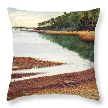Throw Pillow featuring the painting Penobscot Bay by Roger Rockefeller