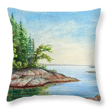 Throw Pillow featuring the painting Penobscot Inlet by Roger Rockefeller