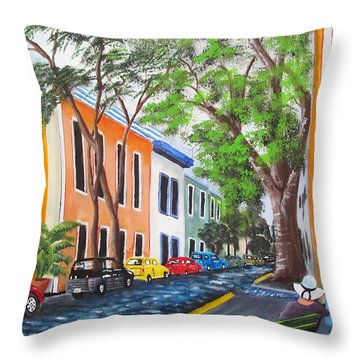 Pensando En El Viejo San Juan Throw Pillow by Luis F Rodriguez