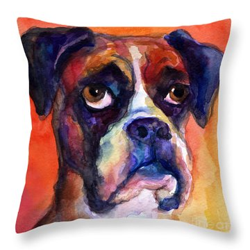 pensive Boxer Dog pop art painting Throw Pillow