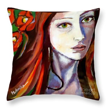 Throw Pillow featuring the painting Pensive Lady by Helena Wierzbicki