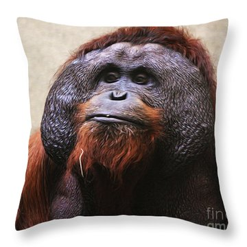 Pensive Orangutan Textured Captive Throw Pillow
