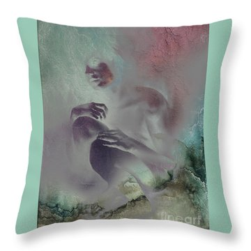 Throw Pillow featuring the drawing Pensive With Texture 2 by Paul Davenport