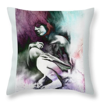 Throw Pillow featuring the drawing Pensive With Texture by Paul Davenport