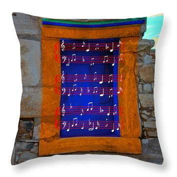 Pentagram Window At Apollo Throw Pillow by Augusta Stylianou